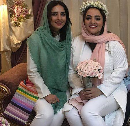 نرگس محمدی و خواهرش در مراسم عروسی نرس محمدی و علی اوجی