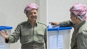 مسعود بارزانی در حال دادن رای