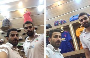 مصطفی حیدری در فروشگاه ورزشی سامان فائزی