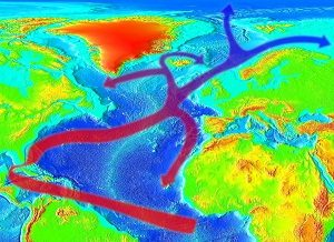مسیر گلف استریم و قاره اروپا و آمریکا