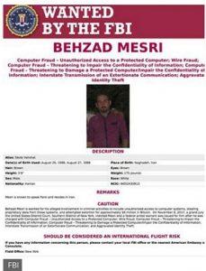 پوستر اف بی آی برای بازداشت بهزاد مصری