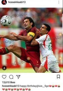 تبریک حسین کعبی به لوییس فیگو برای تولدش