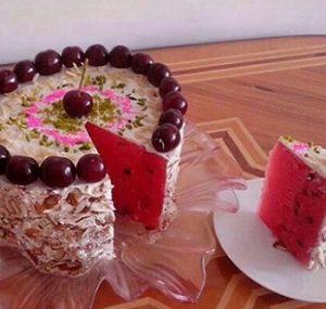 طرز تهیه کیک هندوانه با پنیر