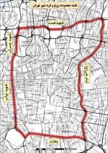 نقشه محدوده زوج و فرد تهران