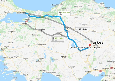 فاصله کاپادوکیا تا استانبول