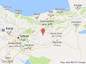 موقعیت مکانی زلزله ۴.۳ ریشتری حوالی فیروزکوه در استان تهران