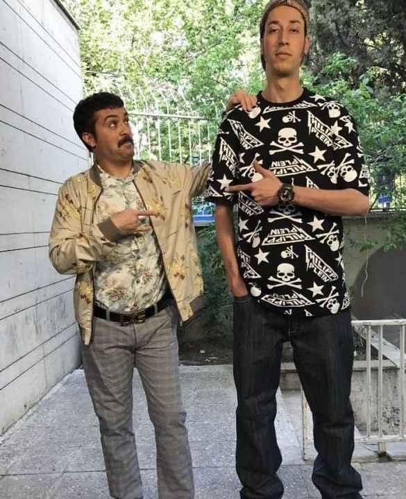بهرام افشاری و احمد مهران فر در پشت صحنه سریال پایتخت
