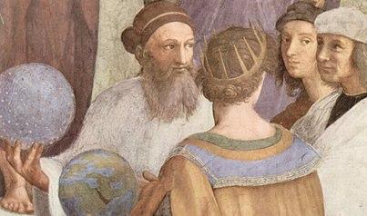 تصویری خیالی از زرتشت (در سمت چپ). نقاشی از رافائل، مکتب آتن، پیرامون ۱۵۱۰ میلادی.