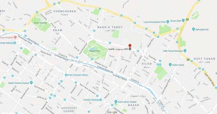 آدرس رستوران طاقچه شیراز روی نقشه