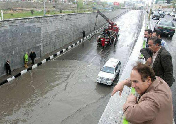 سیل امروز تبریز و بارش شدید باران