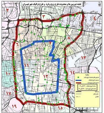 نقشه طرح ترافیک و طرح زوج و فرد در تهران