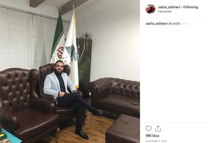 ساشا سبحانی در محل کارش در فرمانیه