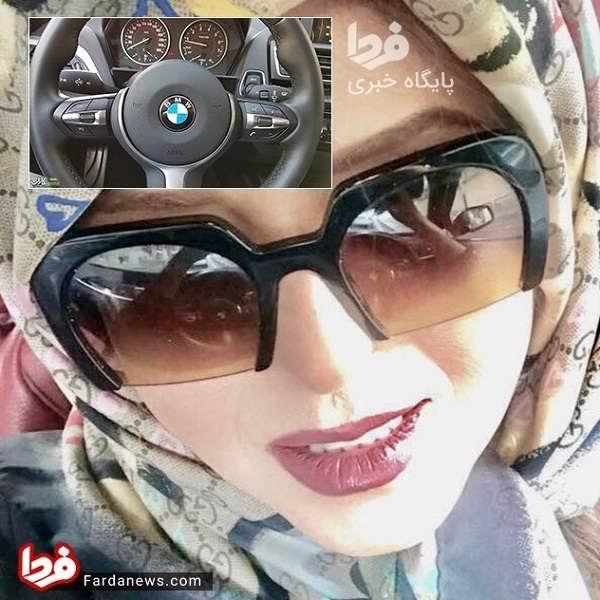 عکس نعیمه اشراقی سوار بر BMW