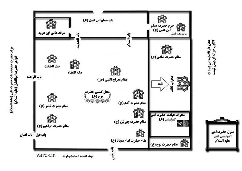 قبر مختار در مسجد کوفه و نقشه مسجد کوفه