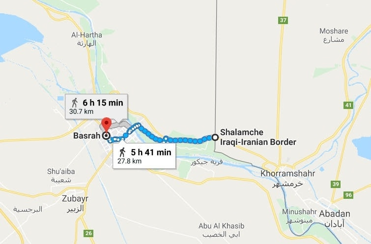 فاصله مرز شلمچه تا بصره پیاده