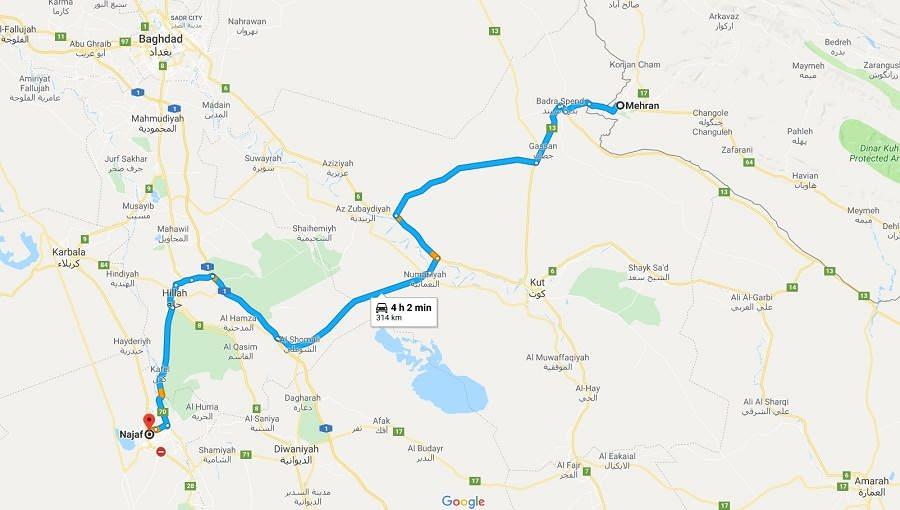 قیمت کرایه از مرز مهران تا نجف