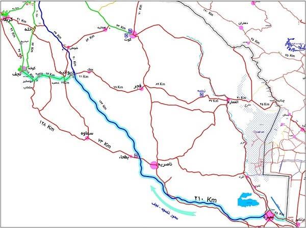 نقشه مسیر شلمچه تا نجف