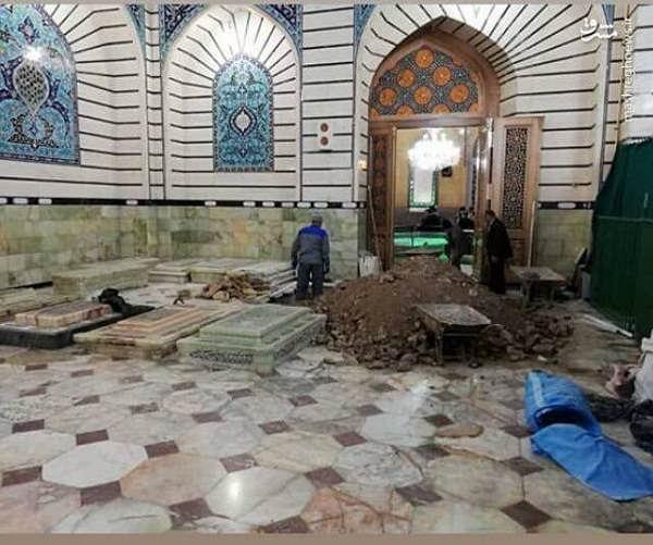 عکس آماده سازی محل خاکسپاری آیت الله هاشمی شاهرودی در حرم حضرت معصومه س