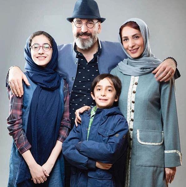 عکس صالح میرزا آقایی و همسرش و فرزندانشان