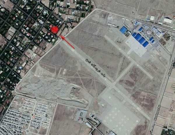 محل دقیق حادثه سقوط هواپیمای باری در انتهای فرودگاه فتح