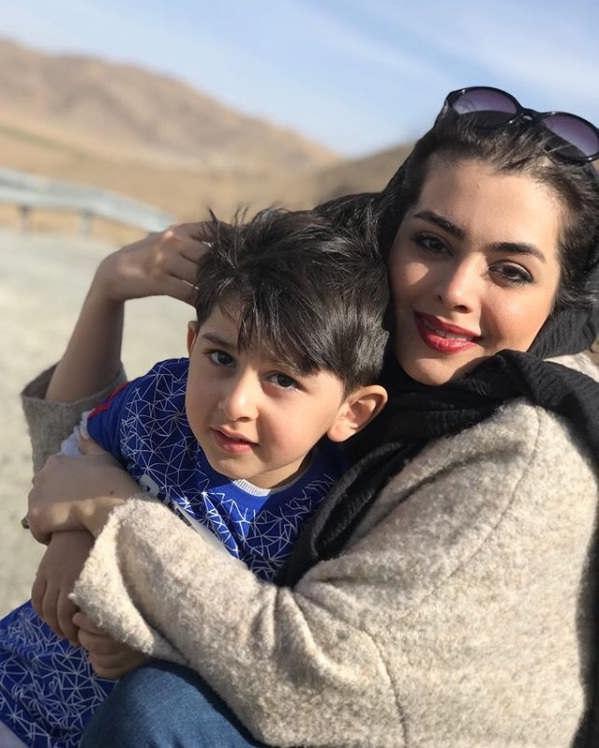 عکس همسر حمیدرضا آذرنگ و پسرش بامداد