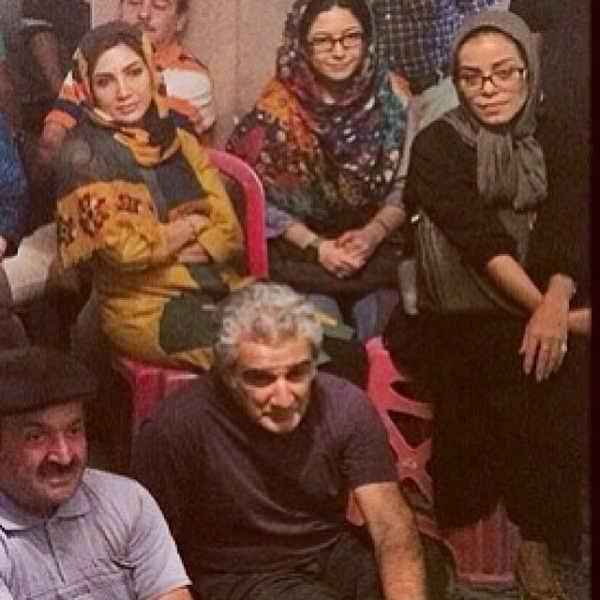 مهنوش صادقی و مهدی هاشمی در پشت صحنه سریال دردسرهای عظیم