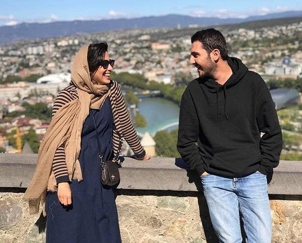 عکس محمدرضا غفاری و آناهیتا افشار در پشت صحنه سریال سایه بان