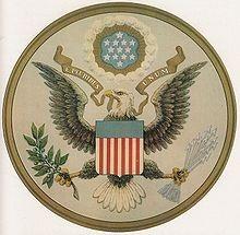 شاخه زیتون در طراحی آرم بزرگایالات متحده، سال ۱۸۸۵