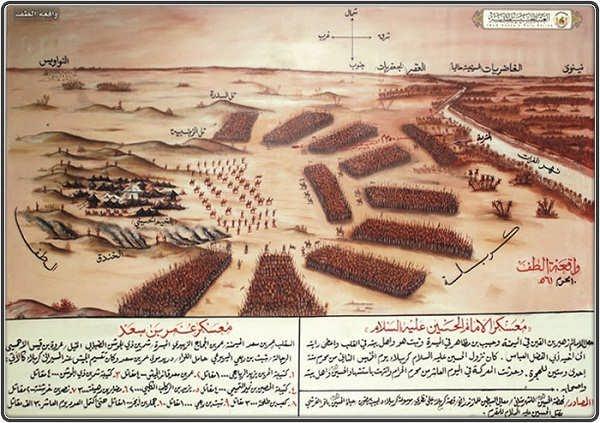عکس ای از آرایش سپاه عمر بن سعد در مقابل اهل بیت امام حسین